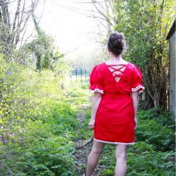 Red short linen hand embroidered ladies dress
