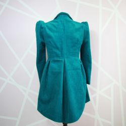 Turquoise asymmetrical ladies jacket with puff sleeves