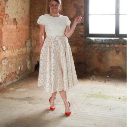 Ivory calf length wedding dress