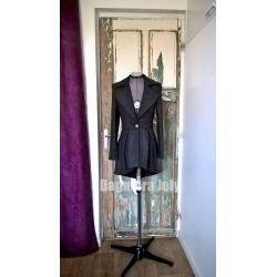 Gray asymmetrical woman tailored jacket