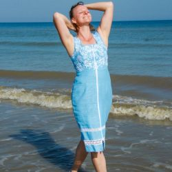 Blue sleeveless linen hand embroidered below knee dress