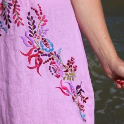 Violet hand embroidered open back woman dress
