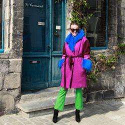 Woman short multicolor fur collar wrap coat