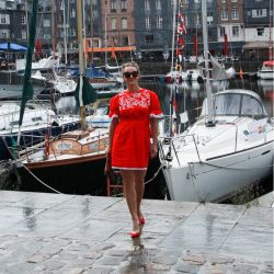 Red woman short linen hand embroidered red dress