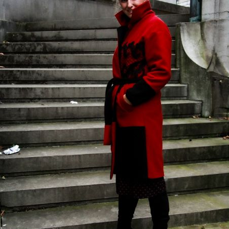 Red long belted woman coat