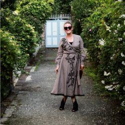 Woman linen wrap calf length dress