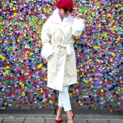 Ivory outdoor woman wedding long couture coat