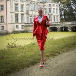 Red pencil tailored skirt suit with asymmetrical jacket
